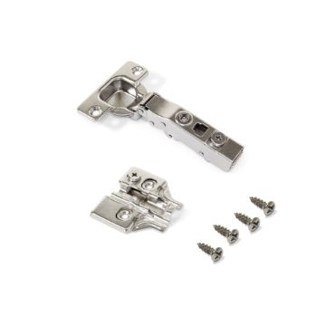 Emuca X91 Hinge with soft close, 100º opening, plates for screwing