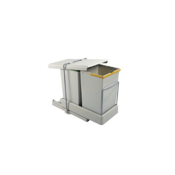 Emuca Recycling bin for bottom fastening and automatic extraction with 2 containers with 14 litres