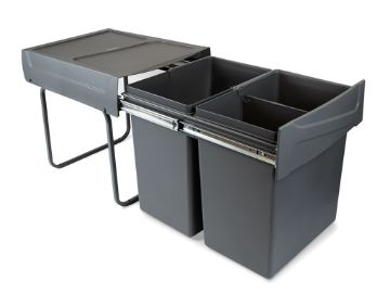 Emuca Recycle Recycling bins for kitchen, 20 x 20 L, lower fixing and manual removal.