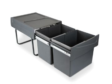 Emuca Recycling bins for kitchen, 2 x 15 L, lower fixing and manual removal.