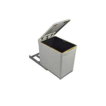 Emuca Recycling bin for bottom fastening and manual extraction with 1 16-litre container and an automatic lid